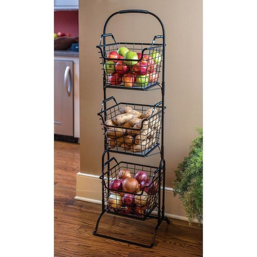 Samu0027s West Wire Storage 3 Tier Basket Stand (MLGY16009C) ...