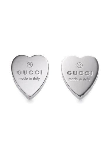 364ef4fffc3 Gucci Women s Sterling Silver Heart Shape Trademark Engraved Stud ...