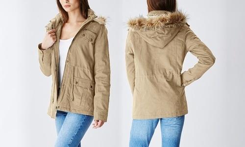 Glamsia Women's Short Cotton Parka Jacket - Khaki - Size:XL ...