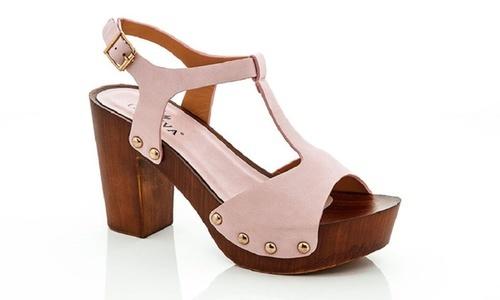 Lady Godiva Womens Wooden Platform Sandals Pink Size8