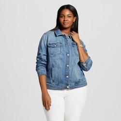 Women's Plus Size Denim Jacket - Ava & Viv  Medium Blue 4X