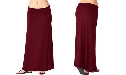 Popana Womens Convertible Solid Maxi Skirt