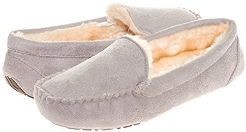 4db7b0cd2535b Floopi Women's Indoor/Outdoor Faux Fur Moccasin Slippers with Memory Foam:  XL/Gray