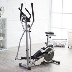 Body Champ Black Magnetic Cardio Dual Trainer Exercise Bike silver 1576722