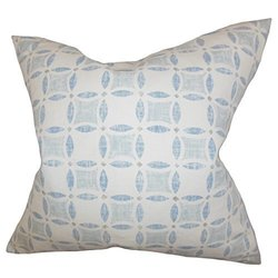 "Jeune Geometric Down Feather Throw Pillow - Blue - 22"""" x 22"""""" 1595682"