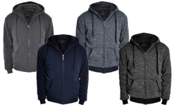 Solid and Marled Sherpa Lined Hoodie: Solid Charcoal/Small 1608531