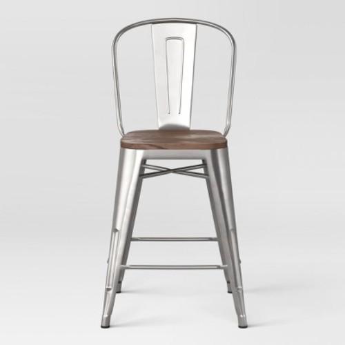 Carlisle 24 Counter Stool With Wood Seat Natural Metal Set Of 2 Threshold