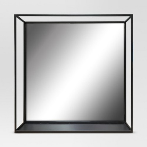 Square Metal Decorative Wall Mirror With Shelf Black Project 62