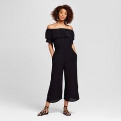 Women's Mixed Print Off the Shoulder Jumpsuit - Xhilaration (Juniors') Black S 1640351
