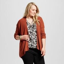 Women's Plus Size Textured Open Cardigan - Ava & Viv  Rust 1X 1646751
