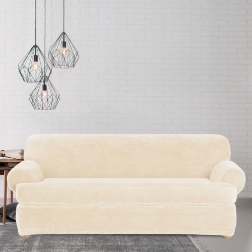 Sure Fit Stretch Plush T Cushion Sofa Slipcover Cream Check Back