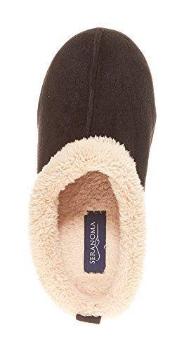 7dcf242b753 ... Seranoma Women S Faux Fur Comfort Slip On Memory Foam Indoor Clog House  Slippers L Black Medium ...