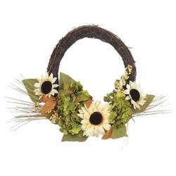 """Harvest Sunflower and Hydrangea Offset Wreath - 18"""""""" - Lloyd & Hannah"""" 1668001"""
