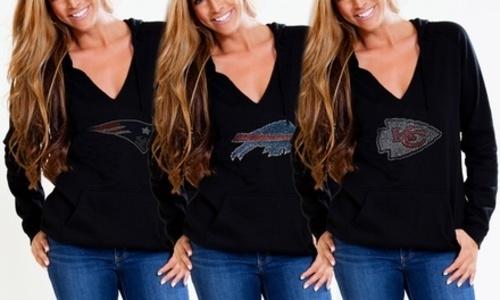 online store de69e ff42d Cuce Shoes Women's NFL V-Neck Fleece Pullover Hoodie - Black - Size:3XL -  Check Back Soon
