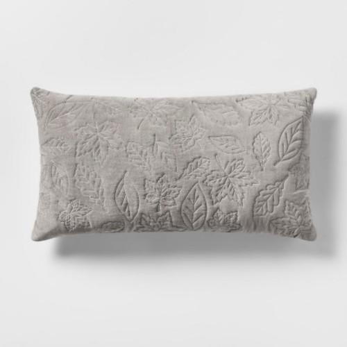 Gray Quilted Leaf Velvet Lumbar Throw Pillow - Threshold - Check Back Soon - BLINQ