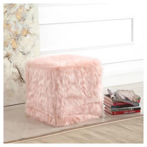 HomePop Plywood Faux Fur Pouf Ottoman Pink Check Back Soon BLINQ Interesting Faux Fur Pouf Ottoman