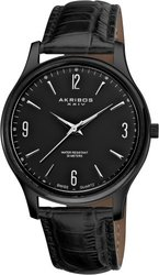 Akribos XXIV Men's Swiss Quartz Black Leather Strap Watch (AK539BK)