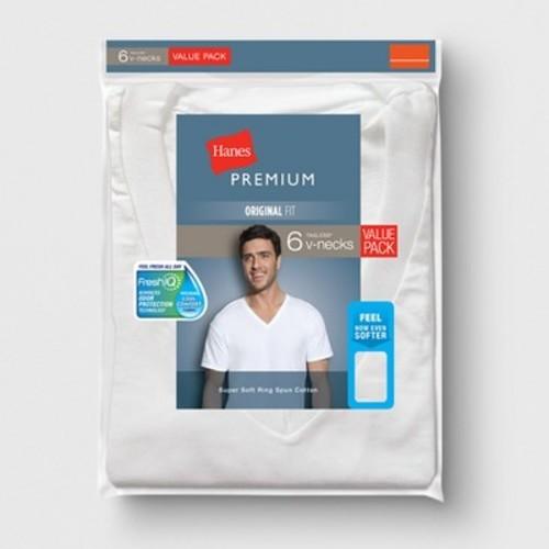 938e38c29a1c Hanes Men's Premium V-Neck T-Shirt - 6 Pack - White - Size:XXL - BLINQ