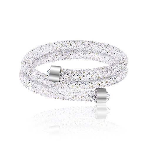 Swarovski Elements Crystal Dust Double Wrap Bangle Bracelet ...