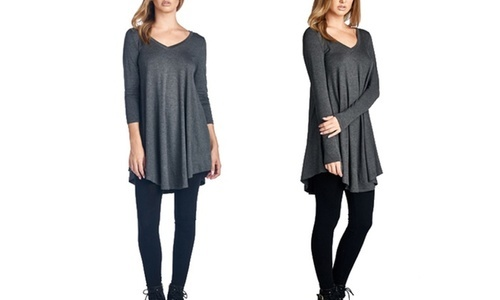 028ad631954cef Subjekt Women's Long Sleeve V-Neck Tunic Top - Charcoal - Size: 3X ...