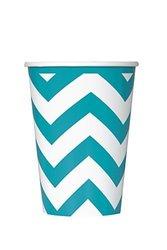 Paper Cups 12Oz 6/Pkg-Caribbean Teal Chevron blue 1703222