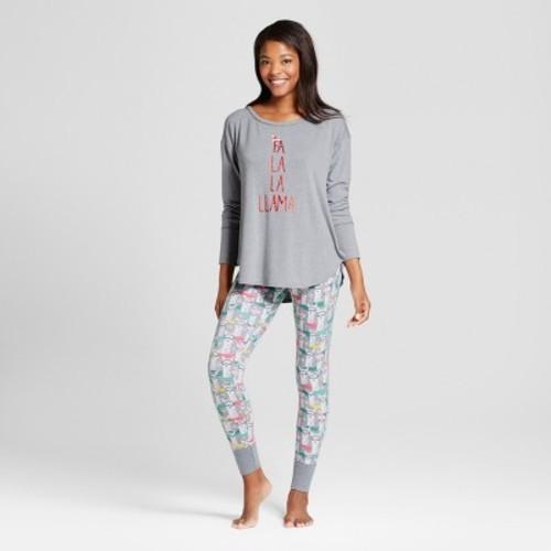 ff96036e2599 Women s Fa La llama Cozy 2pc Pajama Set - Xhilaration™ Light Gray Heather