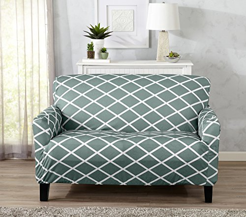 Awesome Brenna Collection Trellis Print Stretch Form Fitted Loveseat Slip Cover Blue Check Back Soon Machost Co Dining Chair Design Ideas Machostcouk