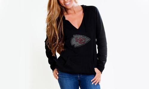 online store 62628 688ff Cuce Shoes Women's NFL V-Neck Fleece Pullover Hoodie - Black - Size:3XL -  Check Back Soon