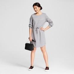 Women's Fleece Tie Waist Dress - A New Day  Gray M 1728049