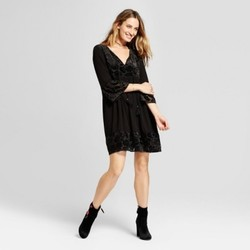 Women's Burnout Velvet Peasant Dress - Knox Rose  Black XL 1729977