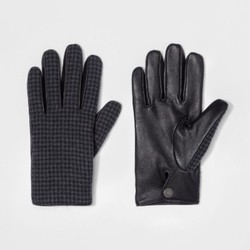 Men's Wear Houndstooth Glove - Gray/Black - Size:L 1705218