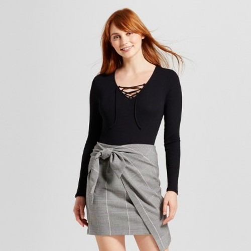 Women s Lace Up Bodysuit - Who What Wear Black S - Check Back Soon ... ada15d6c3