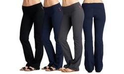 Elegant Women's Fold Over Flared Pants 3 Pack - Black-Black-Black - Size:L 1738525