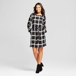 Women's Plaid Tie Waist Dress with Shine - A New Day  Black Plaid XXL 1739908
