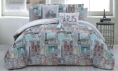 Paris Themed Bedding Set: Comforter Set Jolie Multi/Twin ...