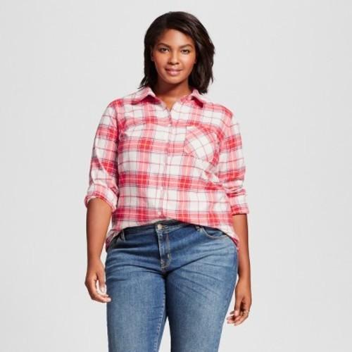 e1d4f2ee191 Women's Plus Size Flannel Button Down Shirt - Ava & Viv Red Plaid X ...