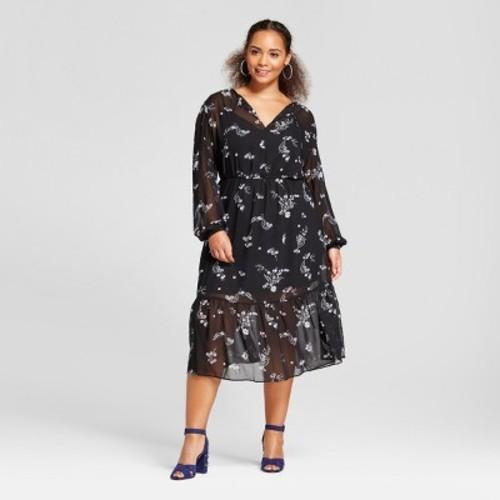 Womens Plus Size Flowy Maxi Dress Who What Wear Daisy Floral 4x