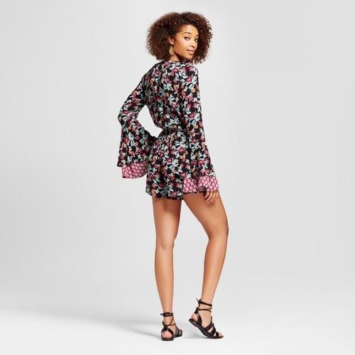 d5ea70f2988c Xhilaration Women s Button-Front Long Sleeve Romper - Black Berry - Sz  XS  ...