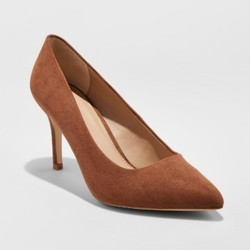 Women's Gemma Wide Width Pointed Toe Nude Pumps - A New Day Cocoa 11W 1768035