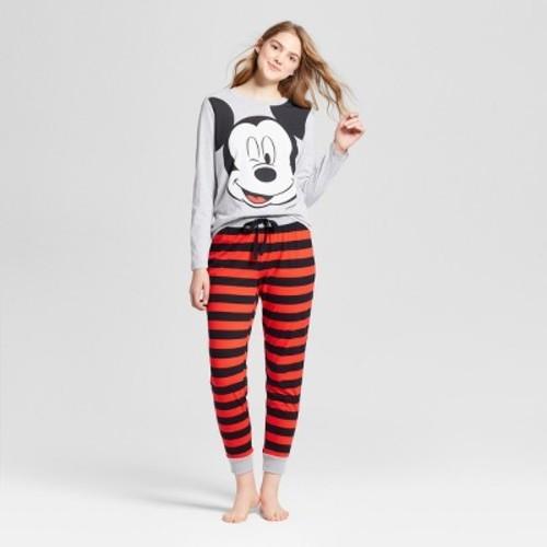 d629f221 ... Disney Women's Mickey Mouse Face T-Shirt Pajama Set - Heather Gray  -Size: ...