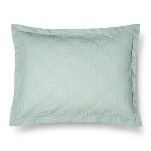 threshold linen quilted sham mint green size standard. Black Bedroom Furniture Sets. Home Design Ideas