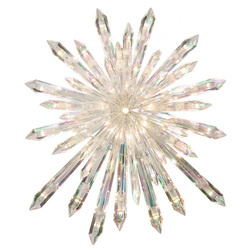Pre Lit Incandescent Snowflake Clear Christmas Tree Topper White 12