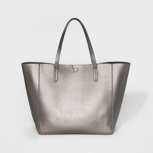 59577dc0e5 ... Merona Women s Reversible Faux Leather Tote Handbag - Metallic Silver  ...