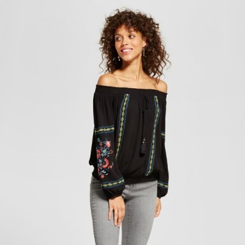 df3d5bdb50a ... Xhilaration Women s Embroidered Off The Shoulder Top - Black - Size  ...