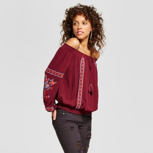 a8ab091ce6d9c Women s Long Sleeve Embroidered Smocked Off-the-Shoulder Top - Xhilaration™  (Juniors )