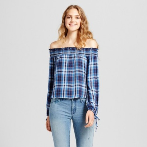 3e5115ee26ecdc Women s Off the Shoulder Plaid Top - Mossimo Supply Co. Blue M ...