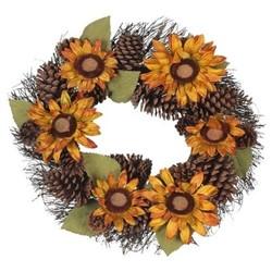 "Harvest Pinecone and Sunflower Wreath - 22"""" - Lloyd & Hannah"" 1793269"