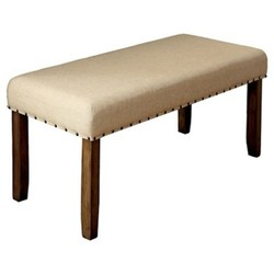 ... Sun U0026 Pine Nail Head Trim Fabric Padded Dining Bench   Wood/Natural ...