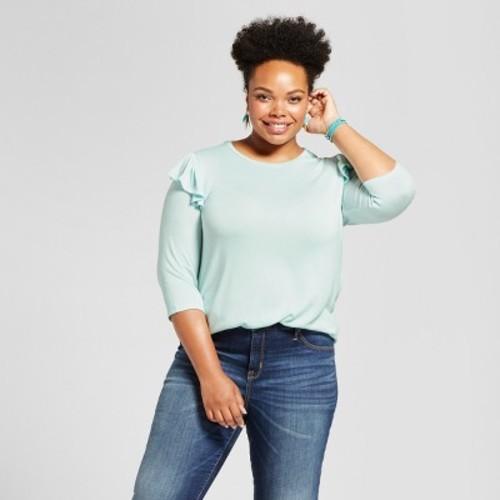 Ava viv women 39 s plus size ruffle shoulder t shirt for Plus size light blue shirt