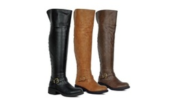SFD Women's Low Heel Knee High Boots